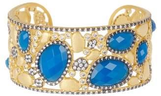 Freida Rothman 14k Gold Plated Sterling Silver Baroque Blues Mini Stone CZ Open Bracelet