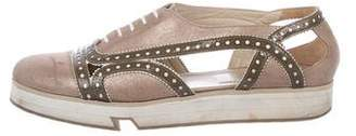 Robert Clergerie Metallic Brogue Low-Top Sneakers