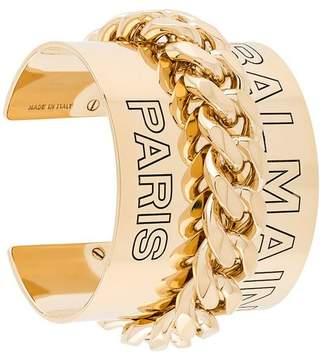 Balmain embossed logo cuff bracelet