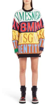 MSGM Colorblock Mixed Font Sweater