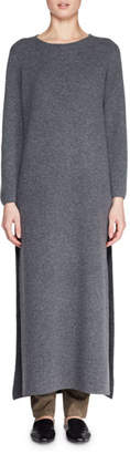 The Row Veronia Round-Neck Long-Sleeve Side-Split Wool-Blend Long Dress