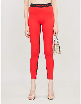 Paco Rabanne Milano logo-panel stretch-jersey leggings
