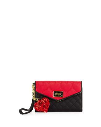 Betsey Johnson Be Mine Quilted Flap Wallet, Red $45 thestylecure.com