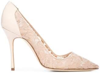Manolo Blahnik lace embellished pumps