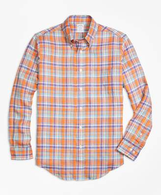 Brooks Brothers Regent Fit Orange Plaid Irish Linen Sport Shirt