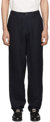 Issey Miyake Navy Double Face Moire Trousers