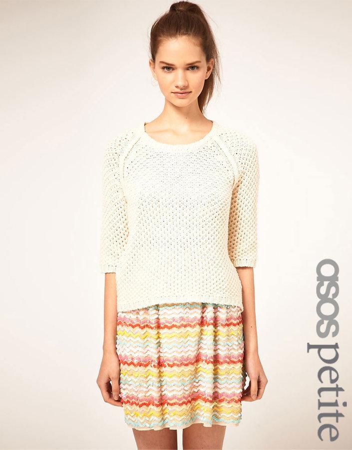 ASOS PETITE Raglan Sweater In Textured Stitch