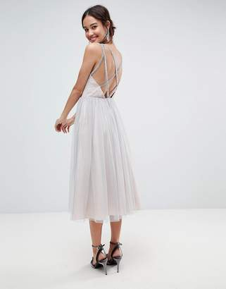 Asos Design Tonal Tulle Midi Dress with Embellished Cami Straps