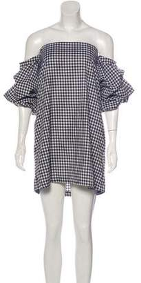 MLM Label Gingham Off-The-Shoulder Dress