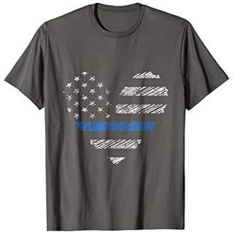 Thin Blue Line Flag Heart Retro Vintage Grunge Style T Shirt