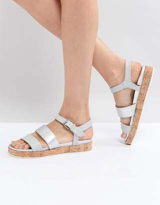 Head Over Heels By Dune Blue Cork Flatform Sandals