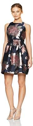 Tahari by Arthur S. Levine Women's Petite Sleeveless Floral Dress with Rouched Waist Seam