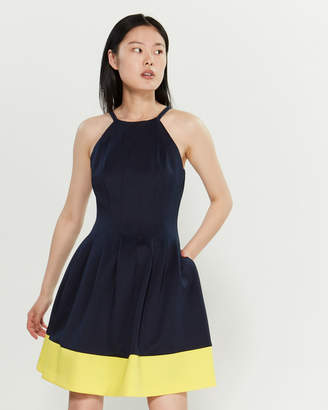 Vince Camuto Color Block High Neck Flared Dress