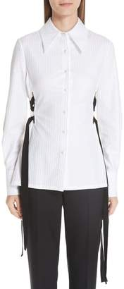 Yigal Azrouel Lace-Up Stripe Cotton Shirt