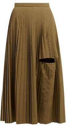 Toga Cut Out Pleated Midi Skirt - Womens - Khaki