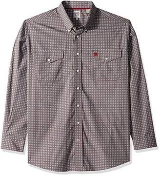 Cinch Men's Classic Fit Long Sleeve Button Two Flap Pocket Print Shirt