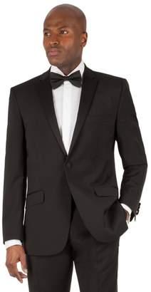Green & Black Racing Green - Black Plain Weave Tailored Fit 1 Button Dress Wear Suit Jacket