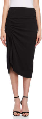 James Perse Black Ruched Midi Skirt