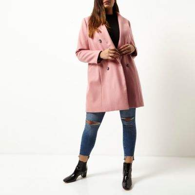 River IslandRiver Island Womens Plus pink double breasted coat