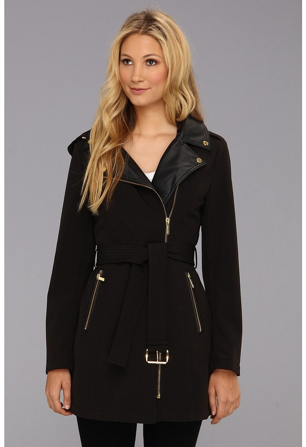 MICHAEL Michael Kors Asymmetrical Belted Trench M520852A (Black) - Apparel