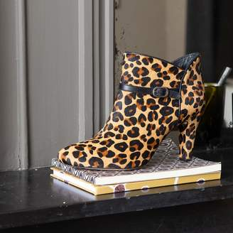 La Redoute COLLECTIONS Leather Textured Leopard Print Stiletto Heel Ankle Boot
