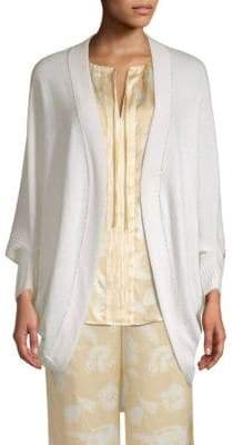 St. John Cashmere Jersey-Knit Sequin-Trim Cardigan