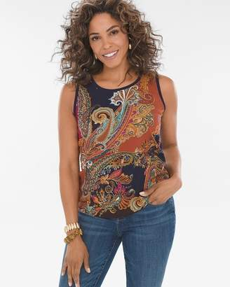 Paisley Woven-Front Tank