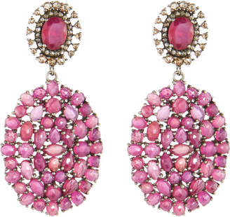 Bavna Linear Diamond & Glass Ruby Drop Earrings IMNoQP4
