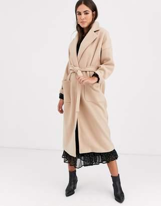 Vila oversized wrap coat in camel