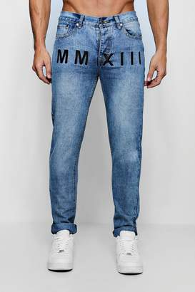 boohoo Skinny Fit Rigid Jeans With Embroidery