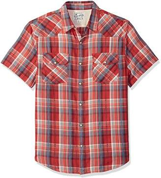 Lucky Brand Men's Short Sleeve Plaid Western Button Down Shirt in RED Multi