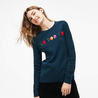 Lacoste Women's Crew Neck Multicolor Embroidery Interlock Sweater