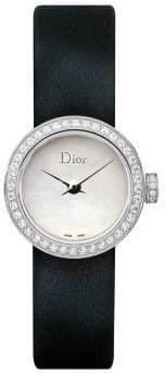 Christian Dior La Mini D de Diamond, Stainless Steel& Satin Strap Watch