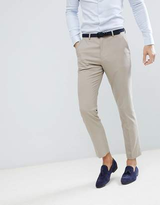 Asos Design Wedding Slim Suit Pants In Stone