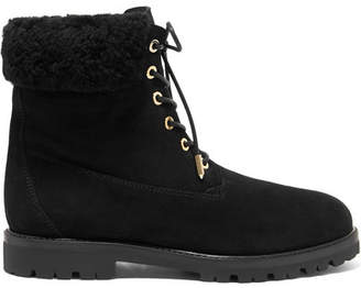 Aquazzura The Heilbrunner Shearling-trimmed Suede Biker Boots - Black