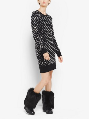 Michael Kors Mirror-Embroidered Cashmere Sweater Dress