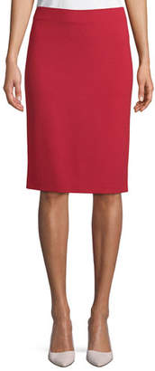 Emporio Armani Milano Jersey Knee-Length Pencil Skirt, Red