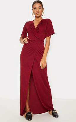 PrettyLittleThing Deep Burgundy Frill Detail Wrap Maxi Dress