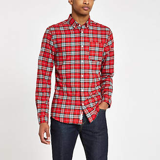 River Island Mens Red and blue check button-down shirt
