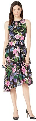 Tahari ASL Printed Floral Chiffon Dress with Cascade Skirt