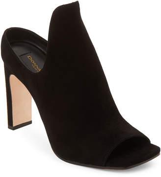 Donna Karan Black Suede Peep-Toe Sutton Mules