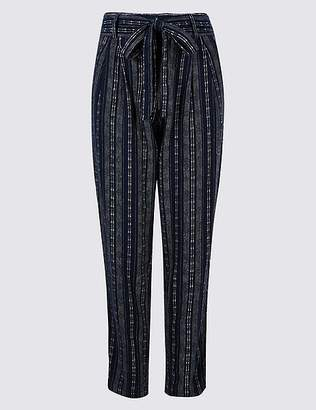 Marks and Spencer Linen Rich Striped Tie Waist Trousers