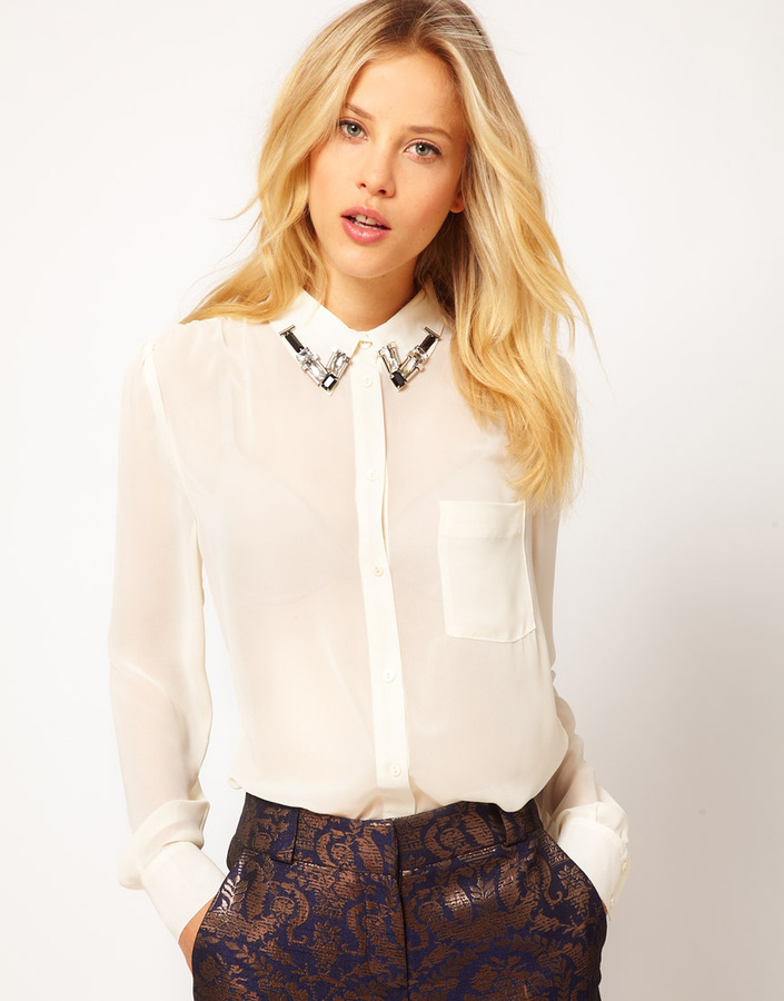 Asos Shirt With Embellished Collar And Wrap Back