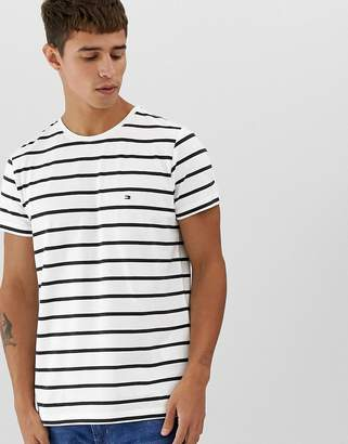 43871663 Tommy Hilfiger striped t-shirt stretch slim fit with icon flag logo in white