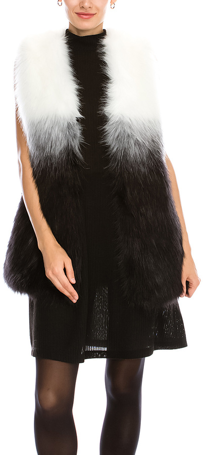 Black Ombré Faux Fur Vest