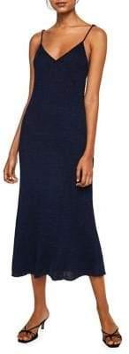 MANGO Indian Metallic Knit Midi Dress
