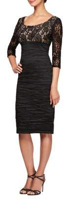 Alex Evenings Ruched & Lace Sheath Midi Dress
