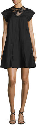 No.21 No. 21 Cap-Sleeve A-Line Short Dress with Lace
