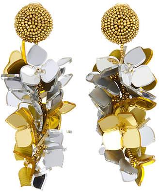 Oscar de la Renta Falling Flower Cluster Clip Earrings