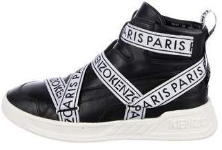 Kenzo Leather High-Top Logo Sneakers